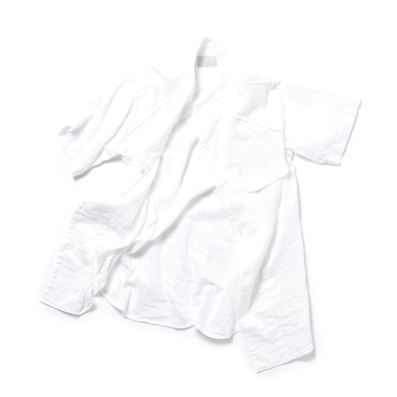 SEAM FREE SHIRT GAUZE NO COLLOR S-SLEEVE